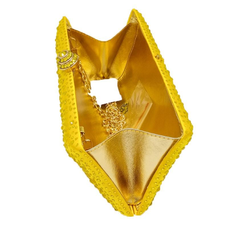 Sparkling Yellow Crystal Evening Clutches Women With Rhinestones Bridal Purses Wedding Prom Box Clutch Bag Handbags Shoulder Bag