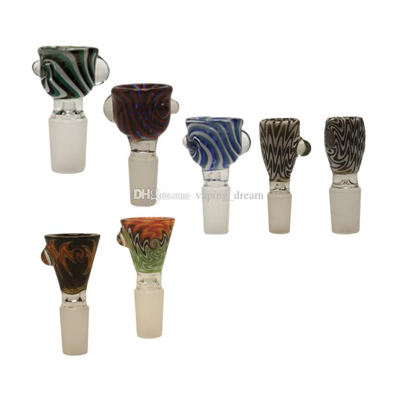 Glass Slides Bowl Pieces Bongs Bowls 5 Different Design 14mm 18mm Male  Female Heady Smoking Water Pipes Dab Rigs Bong Slide