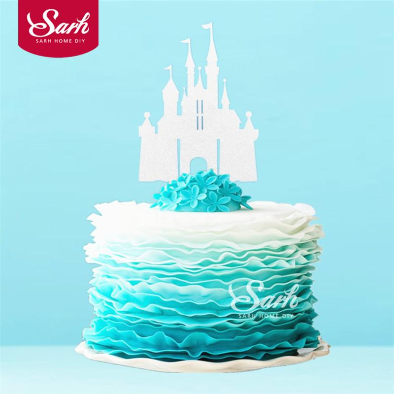 2018 Bling Gold Sliver Romantic Princess Castle Cake Topper With Plasticstick Decoration Wedding Birthday Party Gifts From Lantor 3304