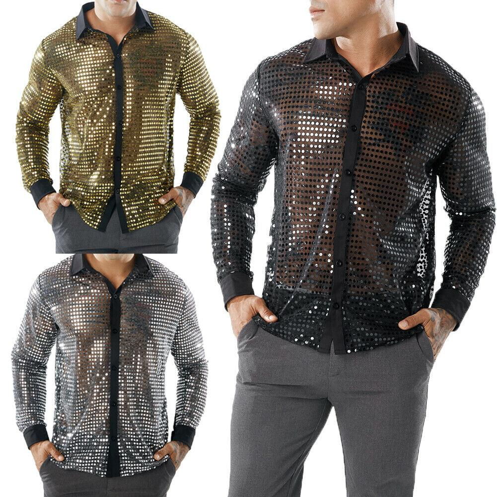 170f1623 2019 Casual Dot Scales Shirt Men Sequin Long Sleeve Sexy Designer See  Through Shirt Golf Lapel Stage Custom Tops From Sweet59, $21.22 | DHgate.Com