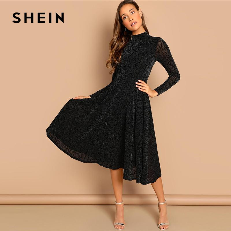 3870626d2e SHEIN Black Sheer Sleeve Glitter Dress Elegant Plain Stand Collar Long  Sleeve Dresses Women Autumn Modern Lady Party