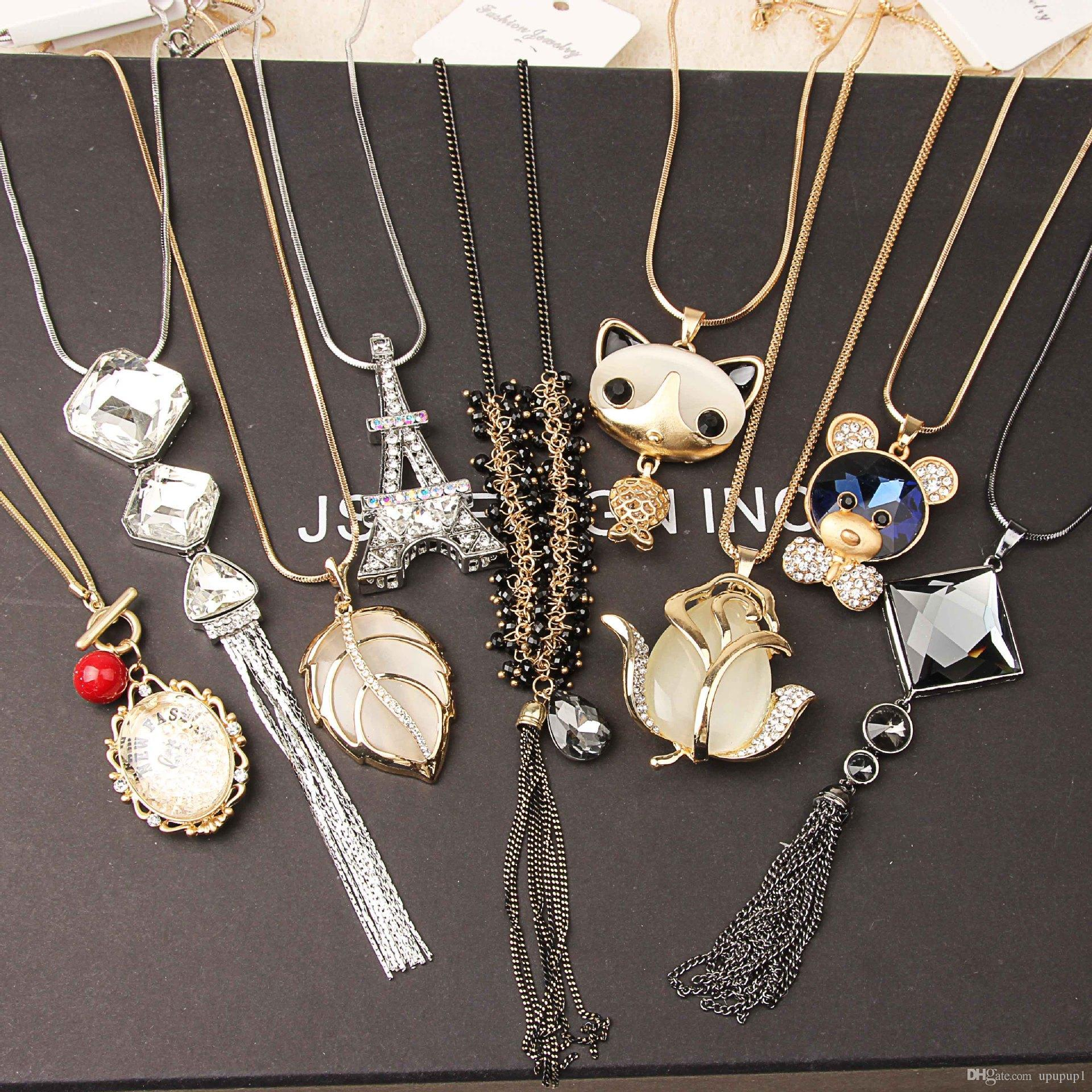 New fashion long copper chain inlay water inlaid diamond wool chain jewelry items