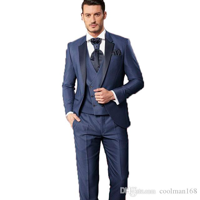 Navy Blue Groom Tuxedos Excellent Mens Wedding Tuxedos Notch Lapel Man Jacket Blazer Popular 3 Piece Suit(Jacket+Pants+Vest+Tie) 1287