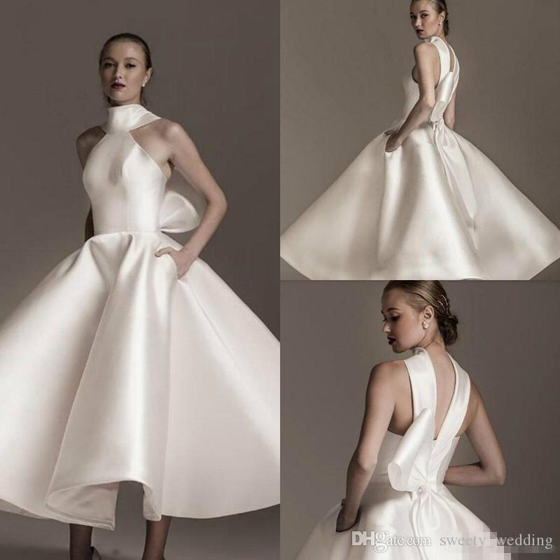Elegant High Collar 2019 White Satin Wedding Dresses With Pockets Ruffles Bow Satin Bridal Gowns Custom Made Fashion Short Bridal Party Gown