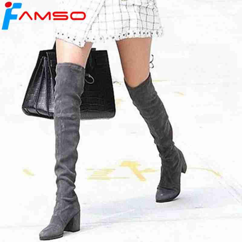 95bb859e57f FAMSO 2018 New Heels Women Boots Designer Spring Autumn Designer Over The Knee  Boots Winter Sexy Female Suede Motorcycle Leather Boots For Women Sporto ...