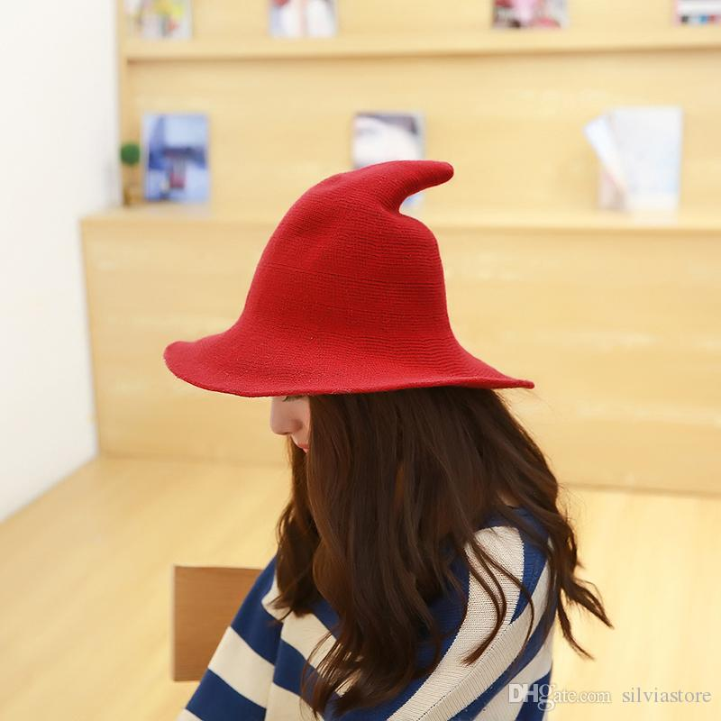 Women Modern Witch Hat Cap Knitting Fisherman Hat Female Fashion Witch  Pointed Basin Bucket Hat Visor Cap UK 2019 From Silviastore 7cfc2d20ba43