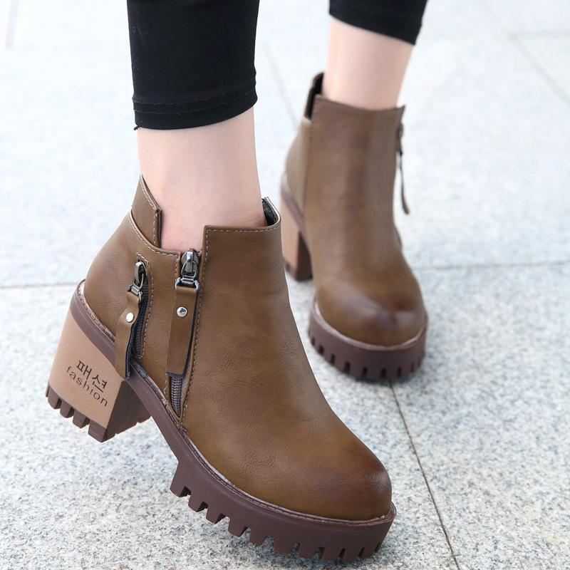 cd695bcd242 Thick Bottom Round Head Women Short Boots Autumn New Side Zipper High Heel  Martin Boots Occident Style Fashion Wild Bare High Heel Shoes Wedges Shoes  From ...