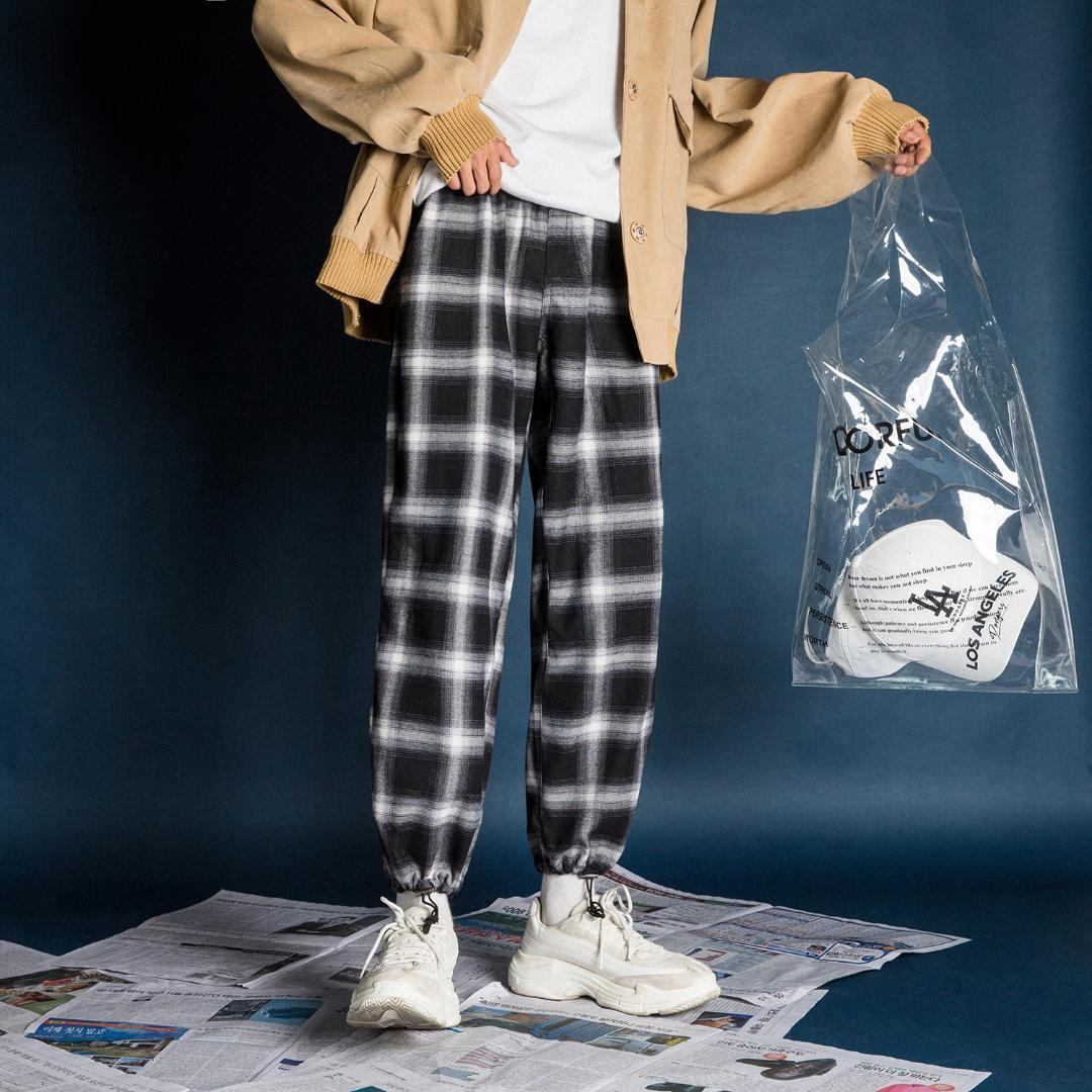 b537dc6be694fc 2018 Men's Streetwear Casual Pants Cotton Lattice Printing High ...