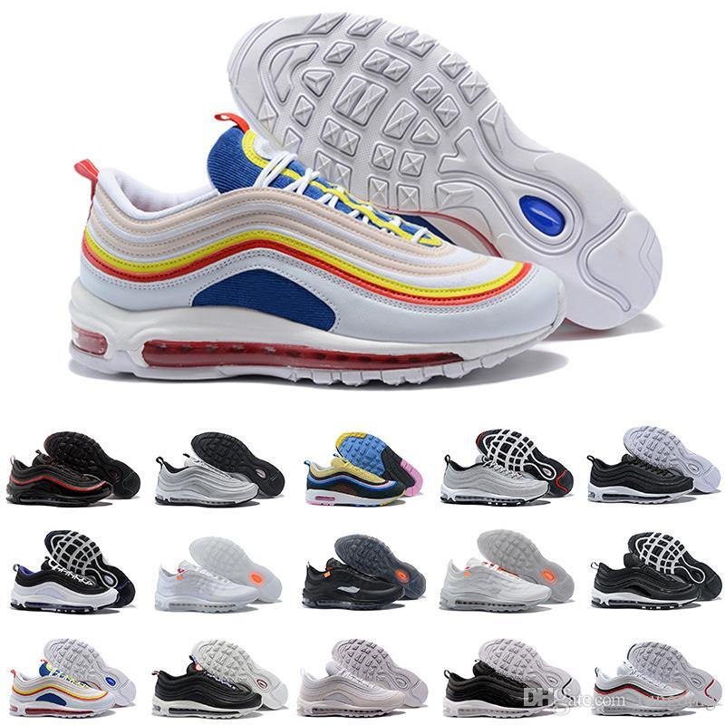 Acquista Nike Air Max 97 Airmax Sconto New 97 Scarpe Da Corsa Sneakers  Economici Migliori Donne Uomini OG Silver Bullet Ultra Triple Bianco  Imbattuto Scarpe ... 32dd07a7b38