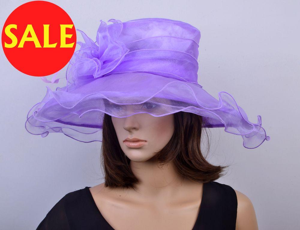 ac1a291b2a2 NEW ARRIVAL Lilac Purple Large Brim Crystal Organza Hat Formal Dress Church  Hat Sinamay Fascinator For Wedding