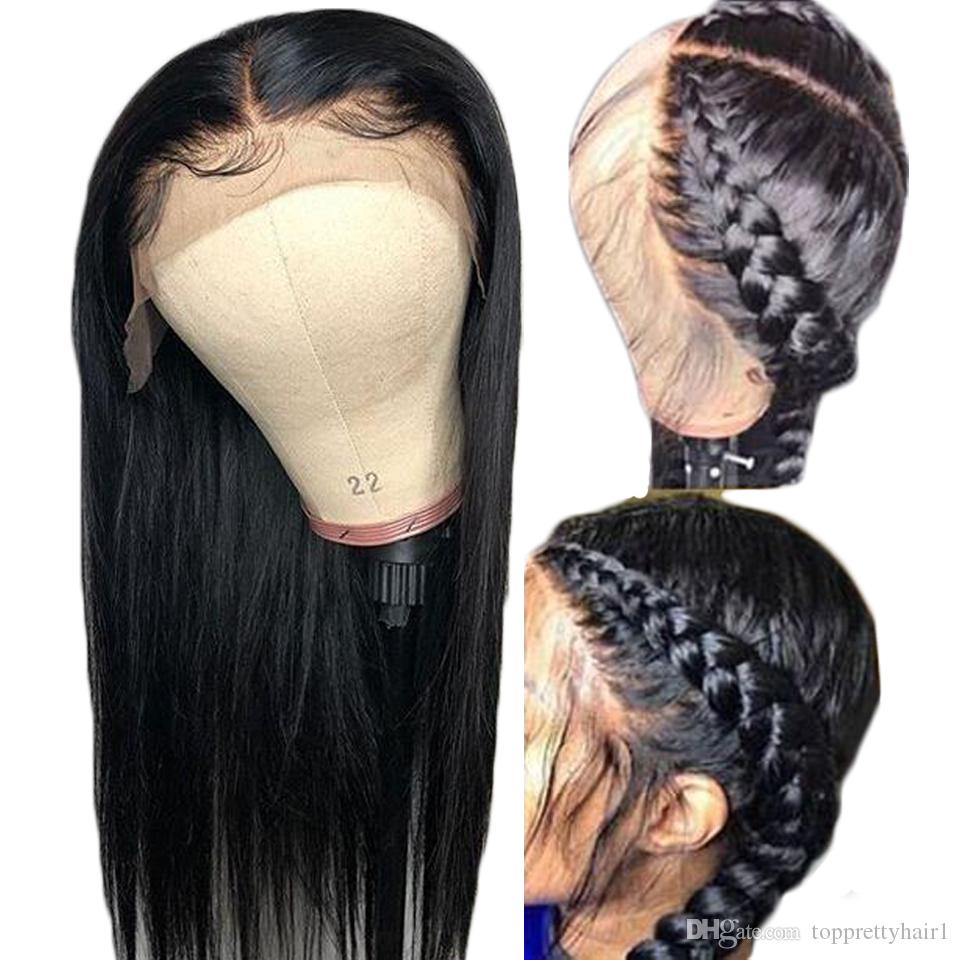 360 Lace Frontal Wigs Preplucked Long Straight Real Virgin Indian Remy Hair 360 Full Lace Human Hair Wig With Baby Hairs Bleached Knots
