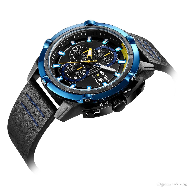 5b8224e6491 Compre BRW Criativo Relógios Desportivos Homens Moda Top Marca Pulseira De  Couro À Prova D  Água De Quartzo Relógios De Pulso Relógio Masculino Relogio  ...