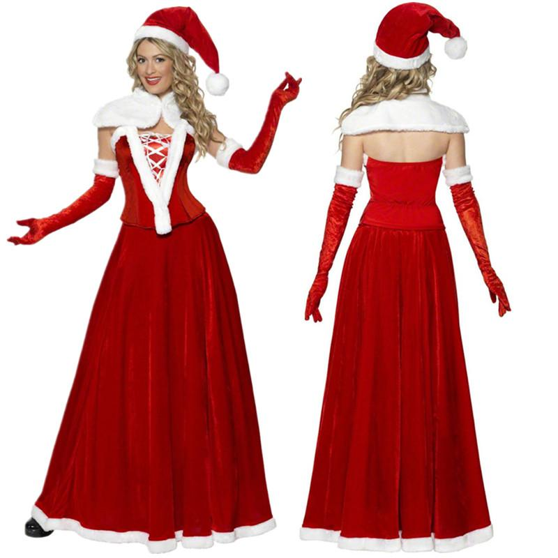 Acquista 5 Pezzi   Set Adulti Donne Festa Di Natale Babbo Natale Costume  Rosso Velluto Xmas Abito Da Festa Di Natale Vestito Lungo A  54.32 Dal  Yzlwatchfine ... 2b2771a925f