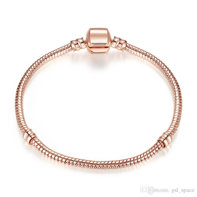Authentic Silver Plated Snake Chain 18k Rose Gold 3mm Snake Chain