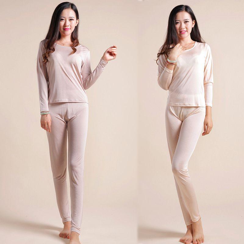 2019 Natural Silk Ladies Health Sleepwear Autumn Clothes Thermal Top +Long  Pants Underwear Set Long Sleeve Bottoming Shirt Leggings From Blackbirdd c35f42052