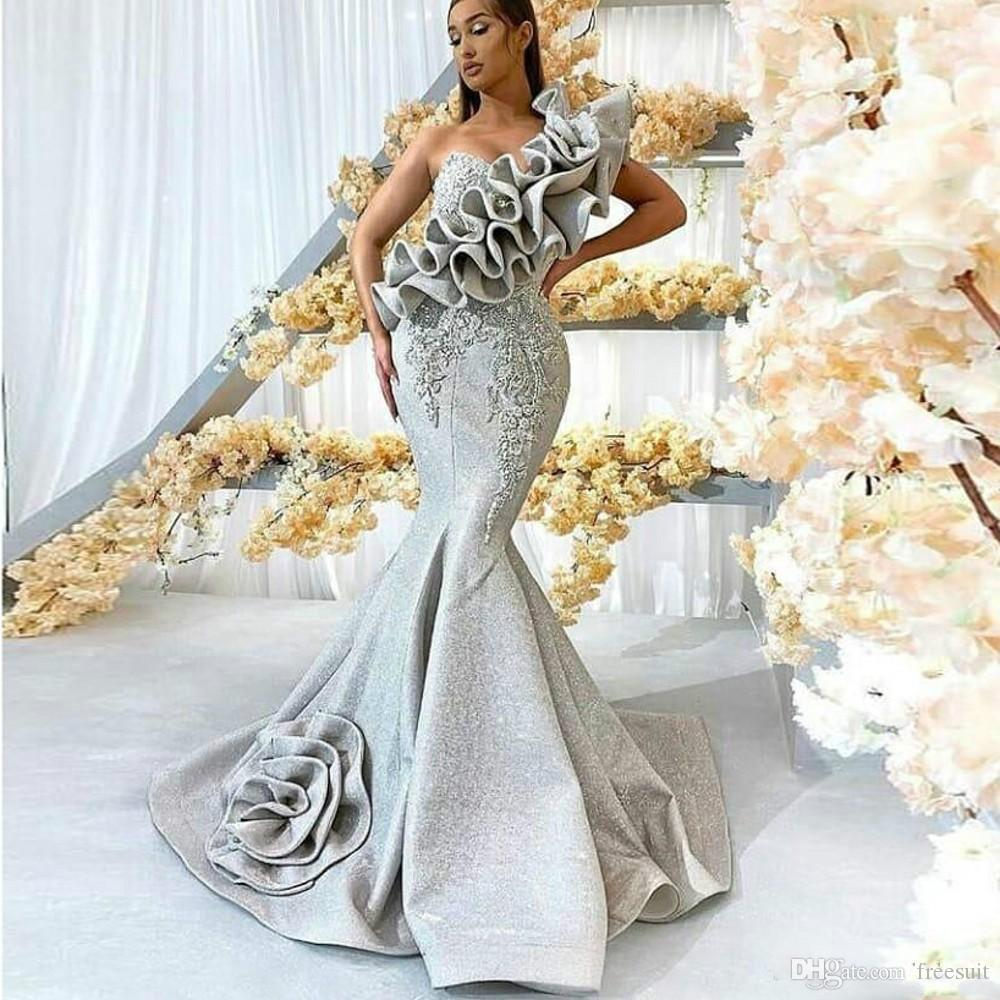 2020 Mermaid Evening Dresses Lace Appliqued Ruffle One Shoulder Sleeveless Sweep Train Formal Party Gowns Custom Made Long Prom Dress