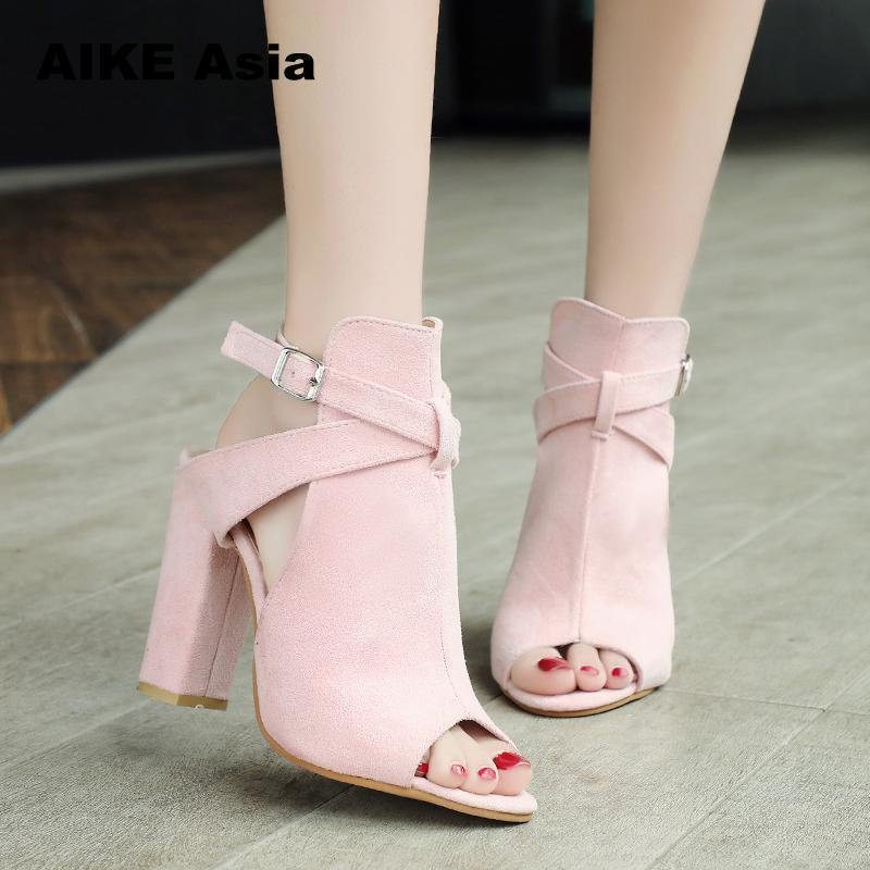 3573ec2a35 Plus Size 34-43 Women Pumps Sexy High Heels Sandals Summer Suede Ladies  Thick Heel Ankle Strap Open Toe Peep Toe Zapatos Mujer