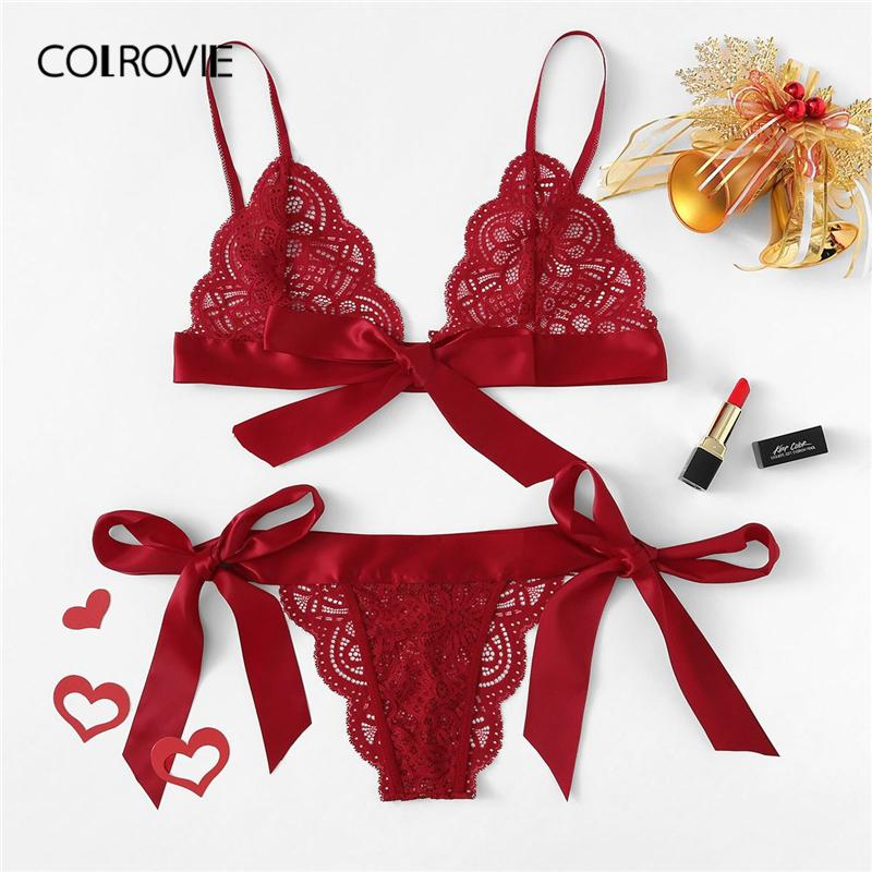 ccd6062da13 2019 Colrovie Red Christmas Scalloped Trim Tie Side Sexy Lingerie 2019  Wireless Ribbon Intimates Transparent Underwear Bra Set C19042201 From  Shen06