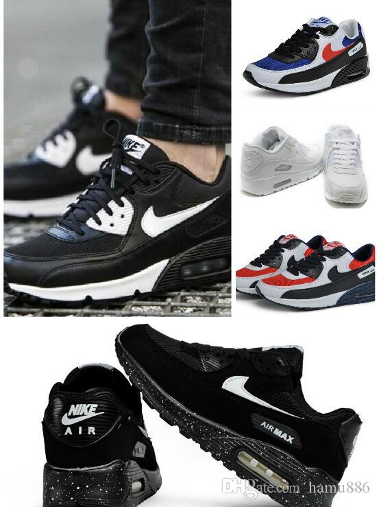 3d6306d4b New Men Womens Sports Shoes Classic 90 Men Women Air Running Shoes Black  White Trainers Air Cushion Surface Breathable Jogging Shoes 36 45 Cropped  Jacket ...