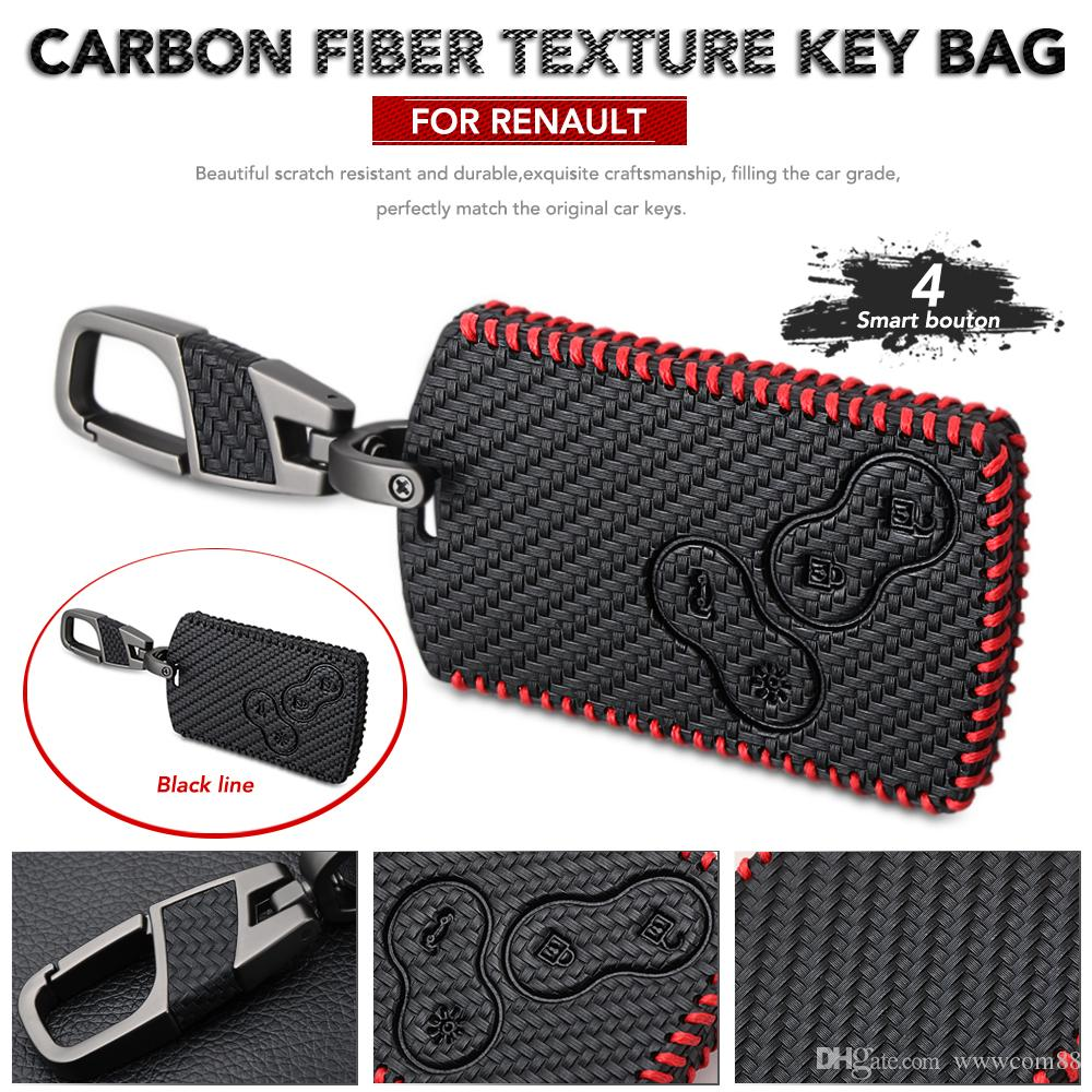 Leather Key Case For Car Styling Carbon Fiber Style Key Cover For Renault Duster Megane 2 3 Captur Kadjar Clio Accessories