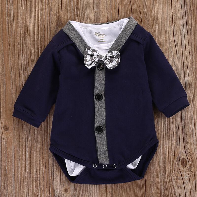 Neonato Neonati maschi vestiti con scollo a V Cardigan Felpa Coat + Pure White Bow tuta della tuta Outfits
