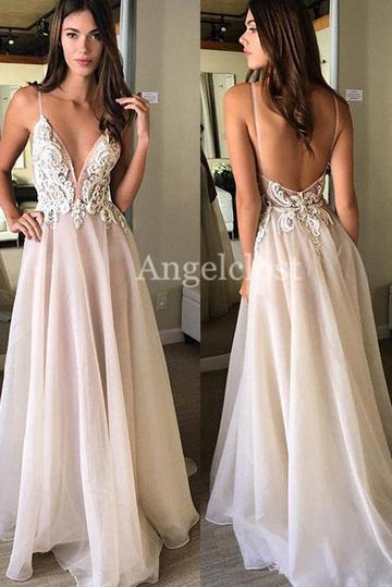 5d5f26dd9ff4e Sexy Backless Prom Dresses 2019 Deep V Neck Sweep Train Lace Appliques  Evening Party Dresses Long Formal Gowns Vestido De Fiesta Customized