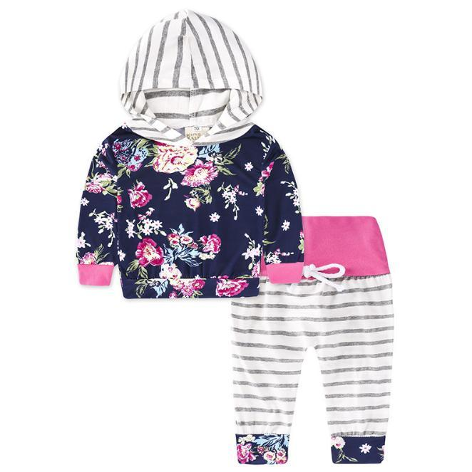 a707d4a5a Baby Girls Clothes Sets Hooded Top Casual Floral Outfits Cotton ...