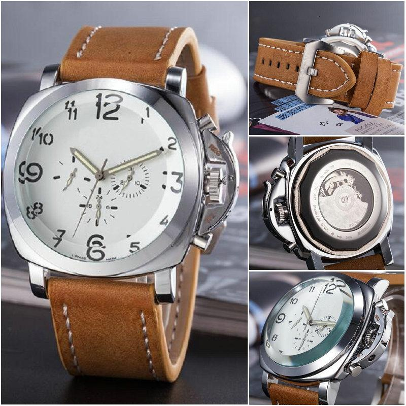Big dial Men's Luxury Mechanical Wrist Watches Brand Transparent back structure design festival man casual leather Sport Wristwatches