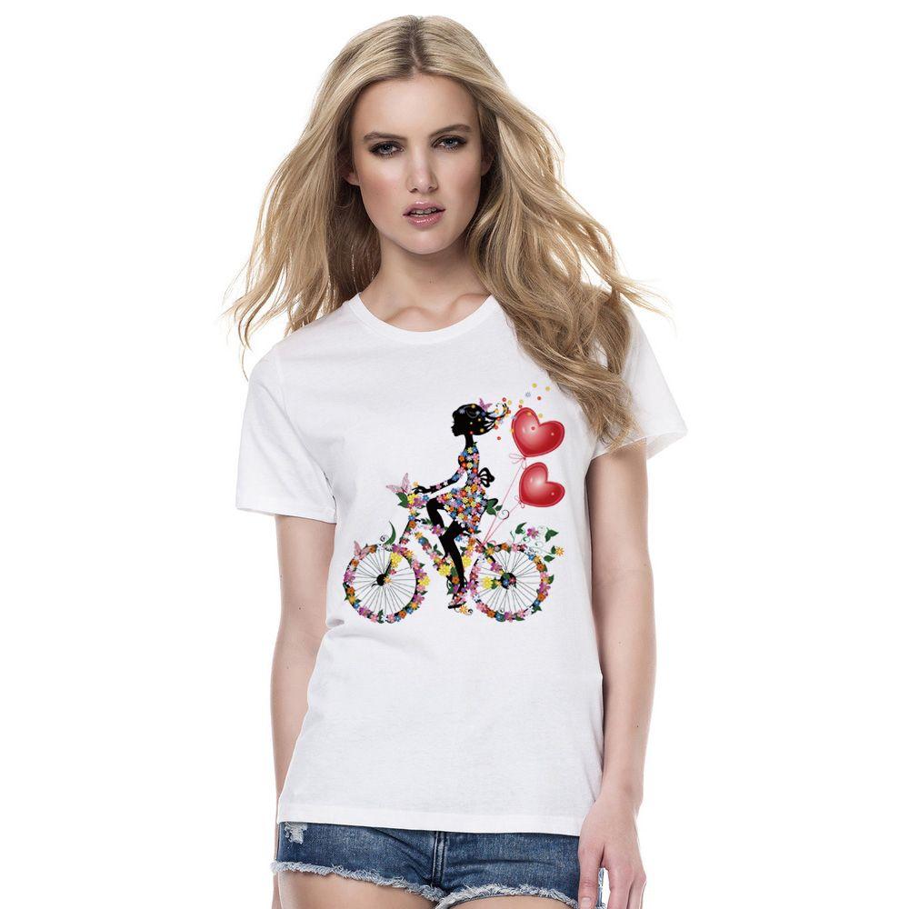 c79a85c0780428 2018 Menina Do Verão Que Monta Uma Camisa De Bicicleta T Mulheres Floral  Flores Imprimir Camisetas Mulher Tops Engraçado Borboleta T-Shirt Feminino