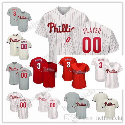 competitive price e7778 4bf38 Custom Philadelphia 3 Bryce Harper 17 Rhys Hoskins 100% stitched jerseys  VINTAGE baseball Jersey personalized Any name Any number