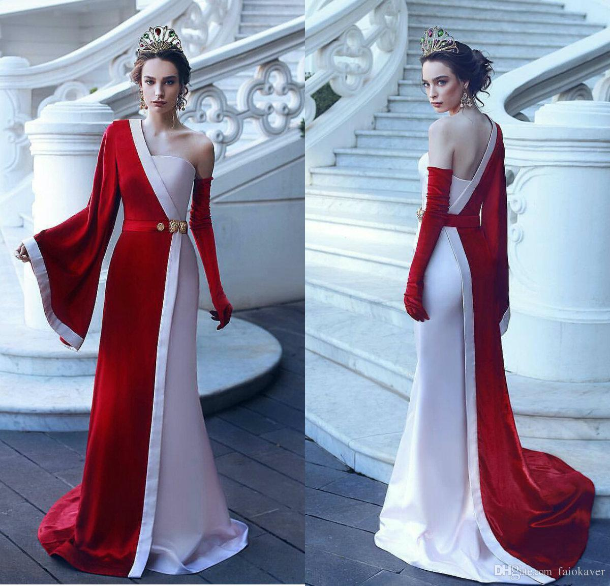 1a117fb92b 2019 Princess White And Red Prom Dresses One Shoulder Long Sleeves Velvet  Elegant Evening Gowns Sweep Train Formal Party Gowns Camo Prom Dress  Celebrity ...