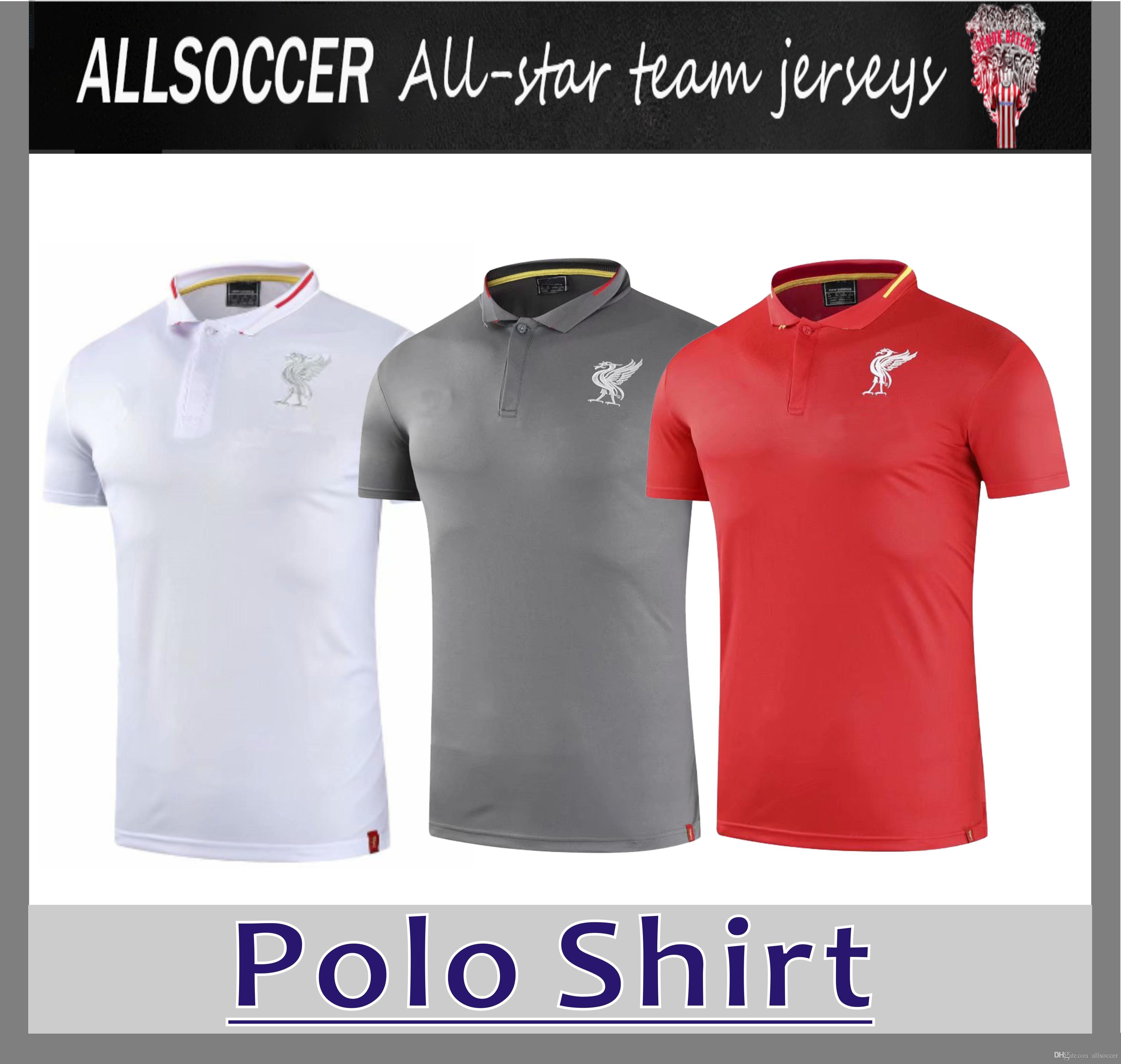 7a981a7b6b Compre 2019 LIV Polo Vermelho Branco E Cinza Camisa De Futebol 18 19 LIV  M.SALAH Pólo De Futebol Uniforme De Futebol Camisa Esportiva À Venda De  Allsoccer