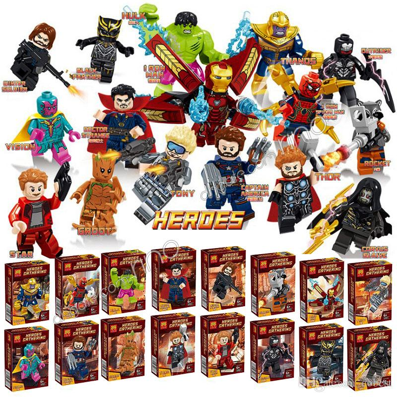 the Avengers building blocks Color Box Marvel kids toys gifts Thanos Captain Thor Hulk Iron Man Spider-Man Loki Ant-Man Groot Figures