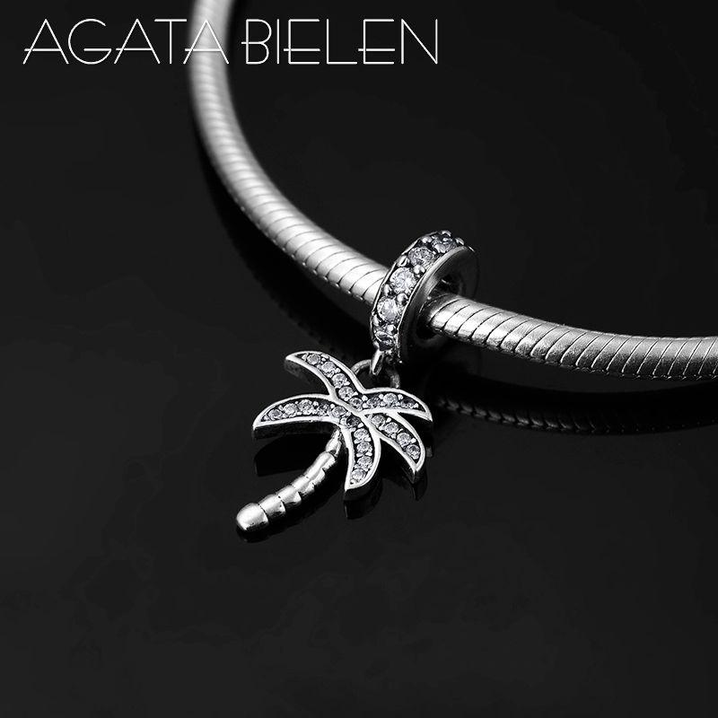 4787c70d0465 Verano 925 forma de árbol de coco de plata esterlina claro CZ fino colgante  Beads Fit Pandora Original Charm pulsera fabricación de joyas