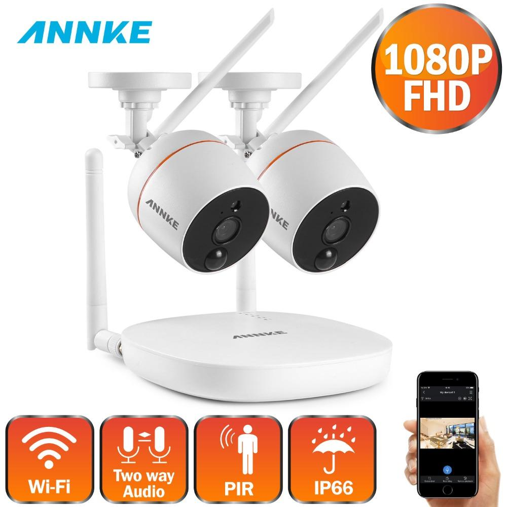 ANNKE 1080P FHD 4CH Wireless WIFI NVR Kit Outdoor Cameras IR H 264 App  Security Camera CCTV System Surveillance Kit TF Card