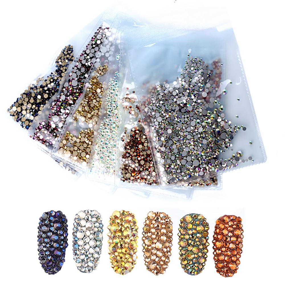 1440 Pcs / Sac Ongles Strass Fond Plat Mixte Taille AB Couleur Brillant 3D Nail Art Décoration Manucure DIY Conception