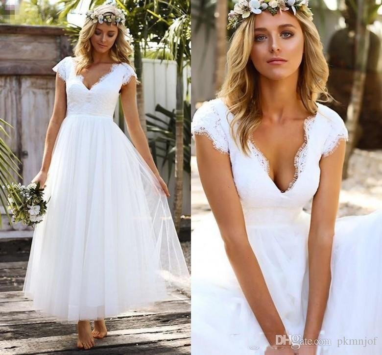 354b686d16c0 2019 Vintage 1950s' Tea Length Short Wedding Dresses Lace Tulle Modest Cap  Sleeve V-neck Bohemian Beach Garden Bridal Gowns