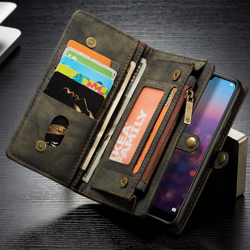 Wallet Case For Huawei P20 / P20 Pro Flip Detachable Leather Wallet On Cover Phone Case P20 Pro Zipper Wallet Stand Bag