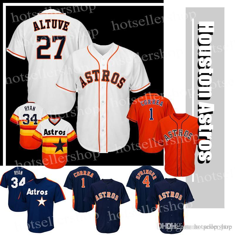 691a0e4b245 Houston Astros 27 Jose Altuve Baseball Jerseys 4 George Springer 1 ...