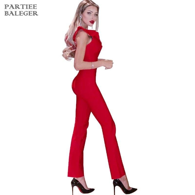 515f7ec8562c0f 2019 2019 New Arrival Chic Ruffles Design Red Jumpsuit Sexy V Neck ...