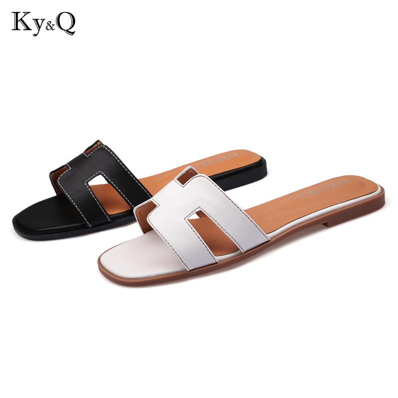 c6241f80fd8 Plus Size34 43 Luxury New Slippers Cut Out Summer Beach Sandals Fashion Woman  Slides Outdoor Slippers Indoor Slip Ons Flip Flops Ankle Boots Slippers From  ...