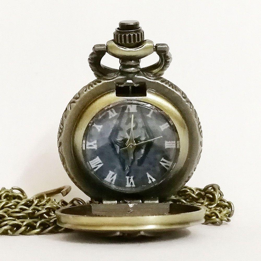 Retro Vintage Grey The Elder Scrolls V:Skyrim Quartz Pocket Watch Analog Pendant Necklace Mens Womens Watches Gift Montre Reloj