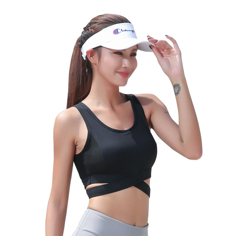 1a1be7f8d Womens Crop Tank Tops Workout Running High Neck Shock-proof Sports Yoga Bra  with Cross-border Built-in Bra