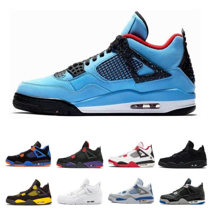 78dd47a9161 2019 Travis 4 Cactus Jack Retro Thunder 4s OG Mens Air Basketball Shoes NRG  Raptors Pure White Cement Black Cat Motosports Designer Sneakers From ...