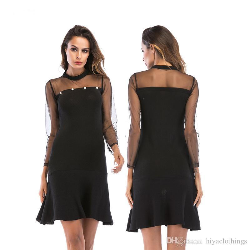 New Dress Sexy Hollow Out Mesh Legging Stitching Dress Thin Long ... ec75e6822ac1