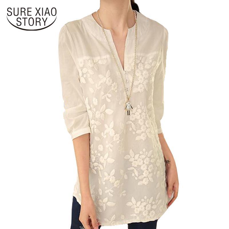 973e7cd3dff Nova Com Decote Em V Organza Bordado Camisa Blusa de Renda Branca Top Plus  Size Verão Coreano Mulheres Blusa Flor mulheres Blusa 566F 25