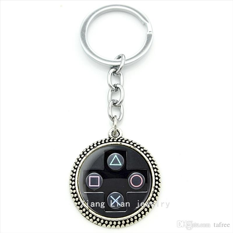 TAFREE men jewelry art Picture pendant keychain geeky perfect gift idea men Video Game Controller man Key chains