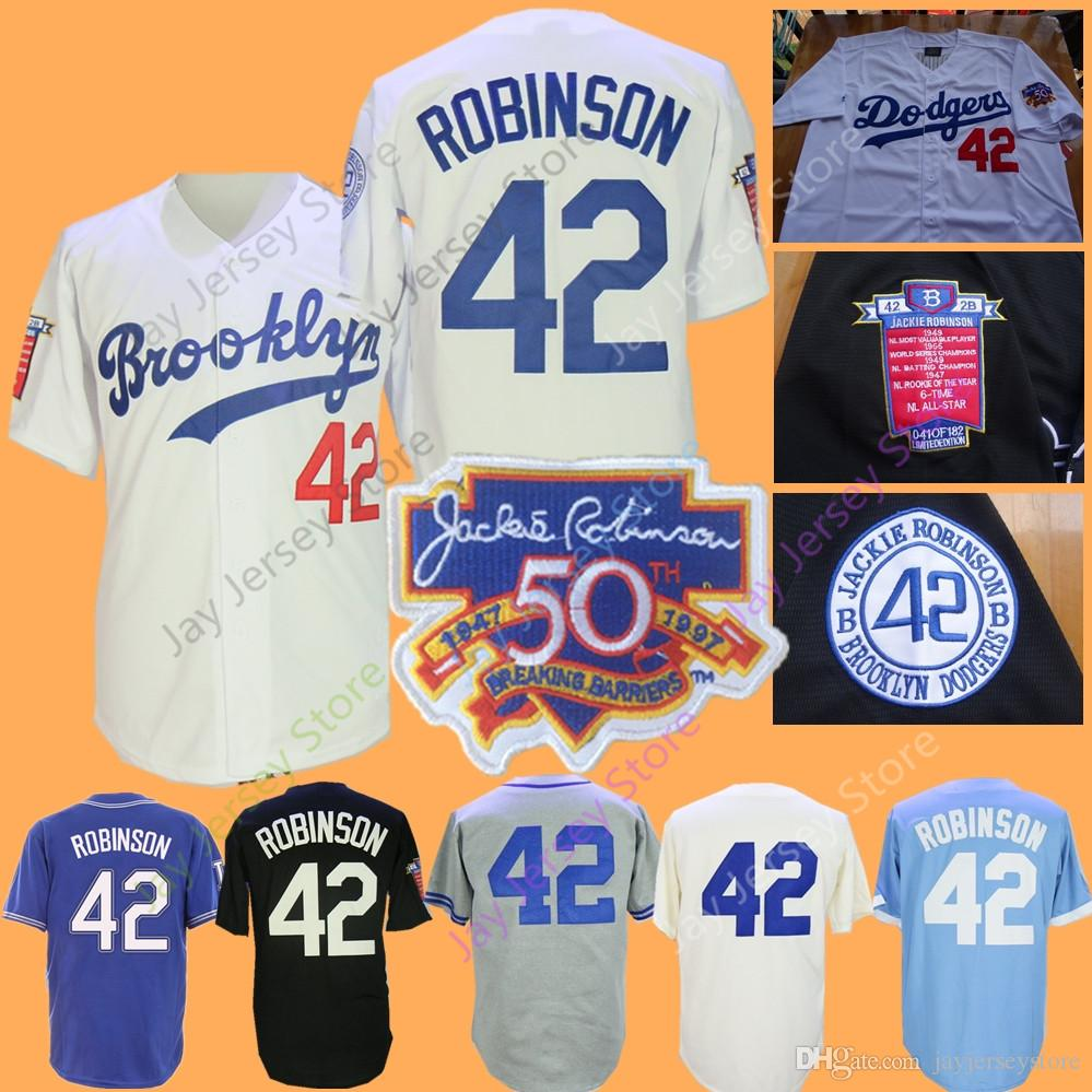 more photos 78819 25b09 Jackie Robinson Jersey Brooklyn Baseball Jerseys Cream Baby Blue White Grey  Home Away All Stitched Men Women Youth