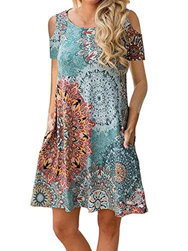c7633158ceaa Voopptaw Women's Cold Shoulder Short Sleeve Floral Print Swing T-Shirt  Tunic Dress with Pockets