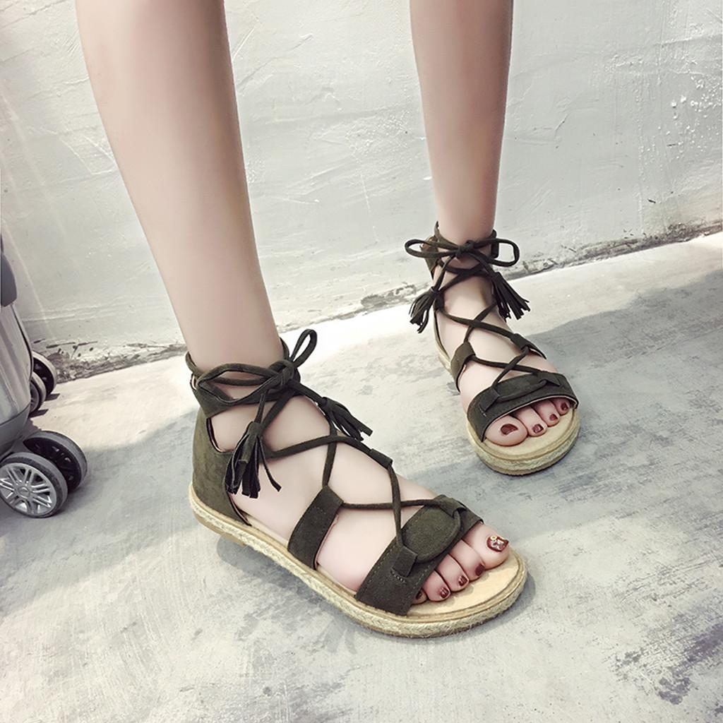 225634c4bb39 Plus Size Shoes Lady Retro Summer Women Beach Sandals Flock Tassel Peep Toe  Lace Up Flats Shoe Ladies Roman Sandals 2019 Sexy Shoes Sandels From  Meledy